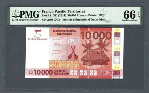 FRENCH PACIFIC TERRITORIES 10000 Francs 2014, P-8 PMG 66 EPQ Gem UNC 10,000 Rare