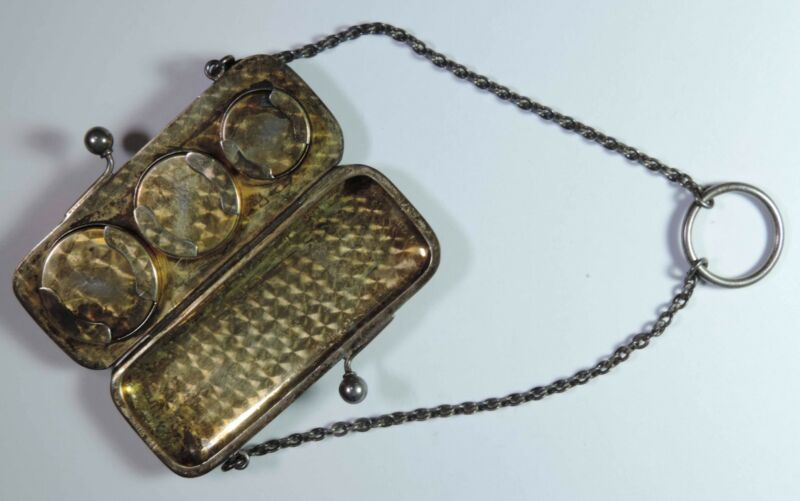 Antique F&B Theodore Foster & Bro. Sterling Silver 3 Size Coin Case Holder Purse