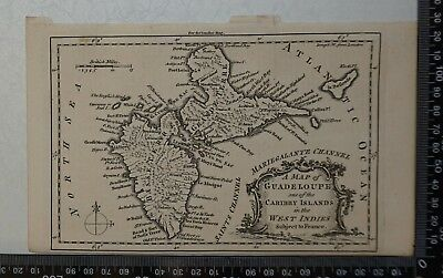 1759 A Map of Guadeloupe one of the Caribby Islands in the West Indies (French)