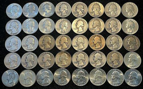Roll of (40) Washington 90% Silver Quarters ....