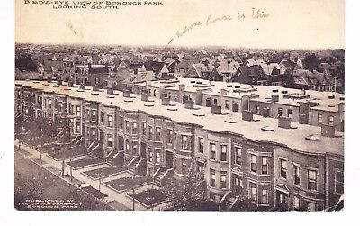 BOROUGH PARK BROOKLYN BIRD'S EYE VIEW OF ROW HOUSES LOOKING SOUTH, NYC