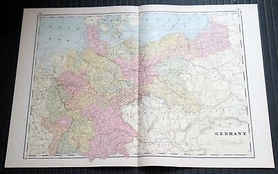 Crams Railway System Atlas Map Germany Greece Corsica and Sardinia 1895