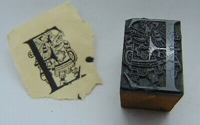 Vintage Printing Letterpress Printers Block Capital Letter E With Person