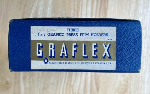 Three 4x5 Graphic press film holders in original box.  Never used.