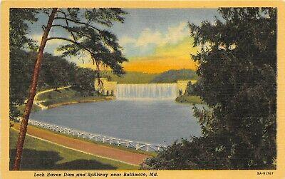 Baltimore Maryland 1940s Postcard Loch Raven Dam & Spillway
