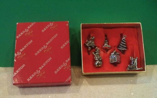 REED & BARTON SILVERPLATE CHRISTMAS CHARMS SET OF 6 WITH BOX!