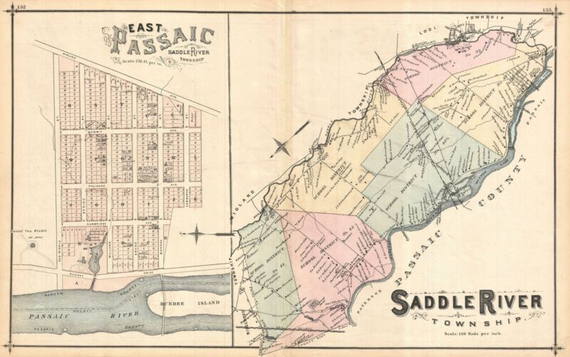 1876 Walker Map of Saddle River Township, New Jersey w/ East Passaic.