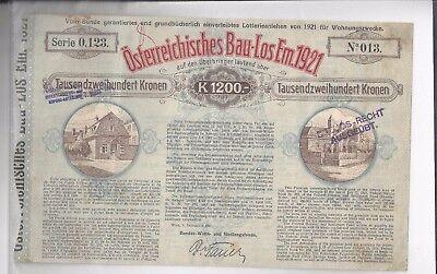 Österreichisches Bau-Los EM.1921 - Aktie Nr. 13 !! -siehe Foto-