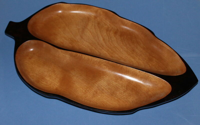 Vintage Hand Carved Wood Leaf Shape Tray