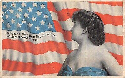 C6658 The American Flag & Beautiful Woman Antique PC Arthur Livingston No. 1115