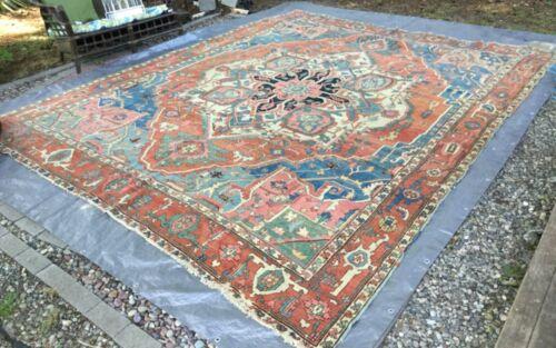 Antique Heriz Serapi Rug Carpet 10x13