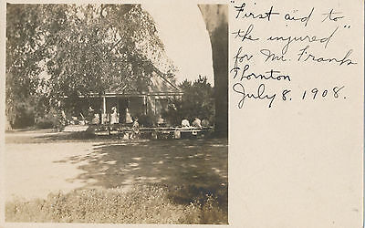 1908 RPPC - Frank Thornton First off Aid to Injured Sepia Photo Postcard, AZO