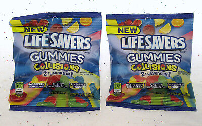 Lifesavers Gummies Collisions 2 in 1 Candy ~ 3.6oz bag ~ Lot of 2 - Lifesaver Gummies