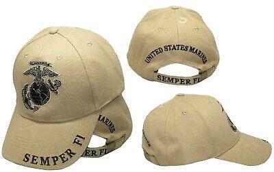 Semper Fi Cap (Khaki U.S. Marines USMC Marine EGA Logo Eagle Subdued Semper Fi Cap Hat )