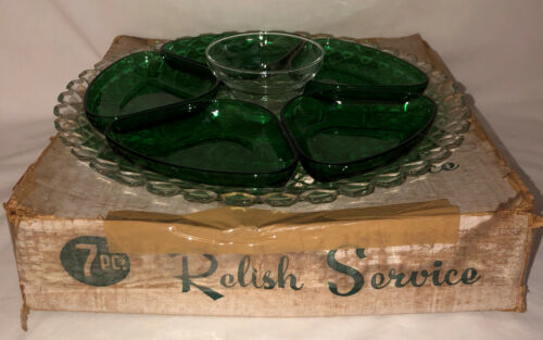7 PC Anchor Hocking WATERFORD/WAFFLE CRYSTAL & GREEN  RELISH SET W/BOX