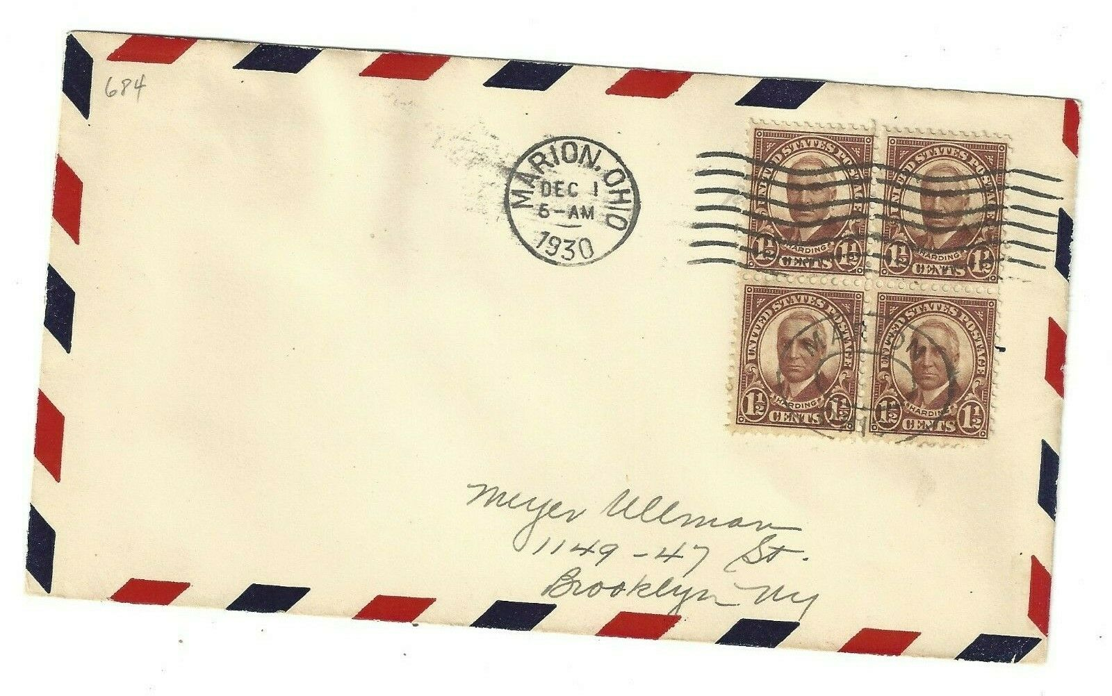1930 Marion, OH Cover With Block Of 4 684 1930 1 Harding Stamps - $0.50