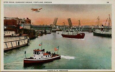 Open Draw Burnside Bridge Boats Ships Portland OR Postcard C20