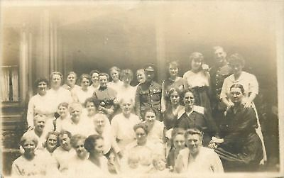 Real Photo Postcard~Big Family Picture With 2 Members of the Military~c1915 WWI