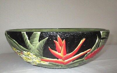 (Island Plantations Hawaiian Serving Bowl w/Plumeria, Heliconia, Protea, Hibiscus)