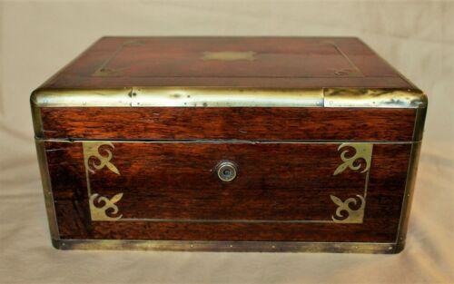 British Raj Period Anglo-Indian Padauk or Teak Brass Bound Dressing Box c. 1845