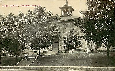 C1910 Printed Postcard  High School  Curwensville Pa Clearfield County  Posted