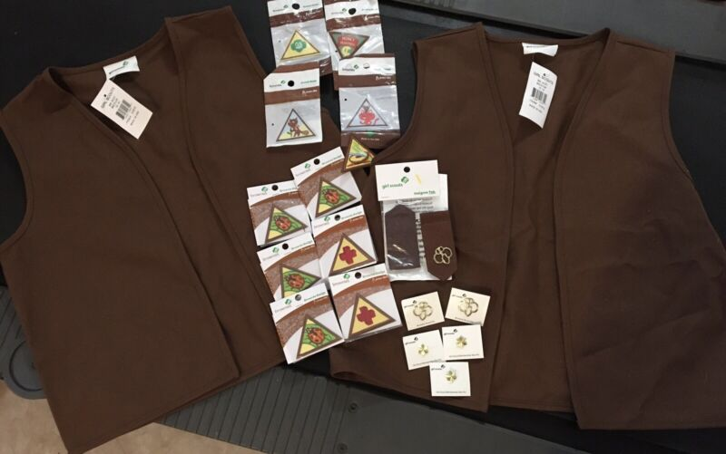Girl Scout brownie Vest New NWT - Lot Of 2 Vests And Patches
