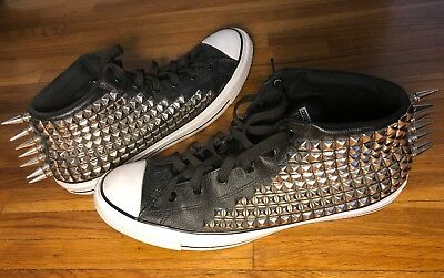 Converse All Star Chuck Taylor Leather High Top With Metal Studs Spikes Size 14