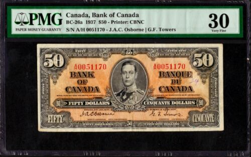 1937 Bank of Canada $50 Banknote, Osborne/Towers, PMG VF30
