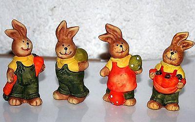Ostern Hasen 4erSet Figuren Tiere Hase bis 9,5 cm h 2 x mit Ei 2 x mit Karotte