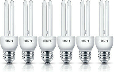 Pack of 6 Philips Compact Fluorescent Economy Bulbs (11w, E27, 6500k)