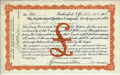 NEW JERSEY 1914 Rutherford Rubber Company Sterling Tires Stock Certificate