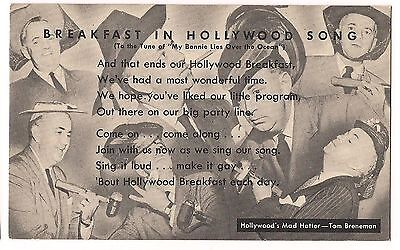 Kellogg Breakfast In Hollywood Song Mad Hatter Tom Breneman Postcard 1945 Abc