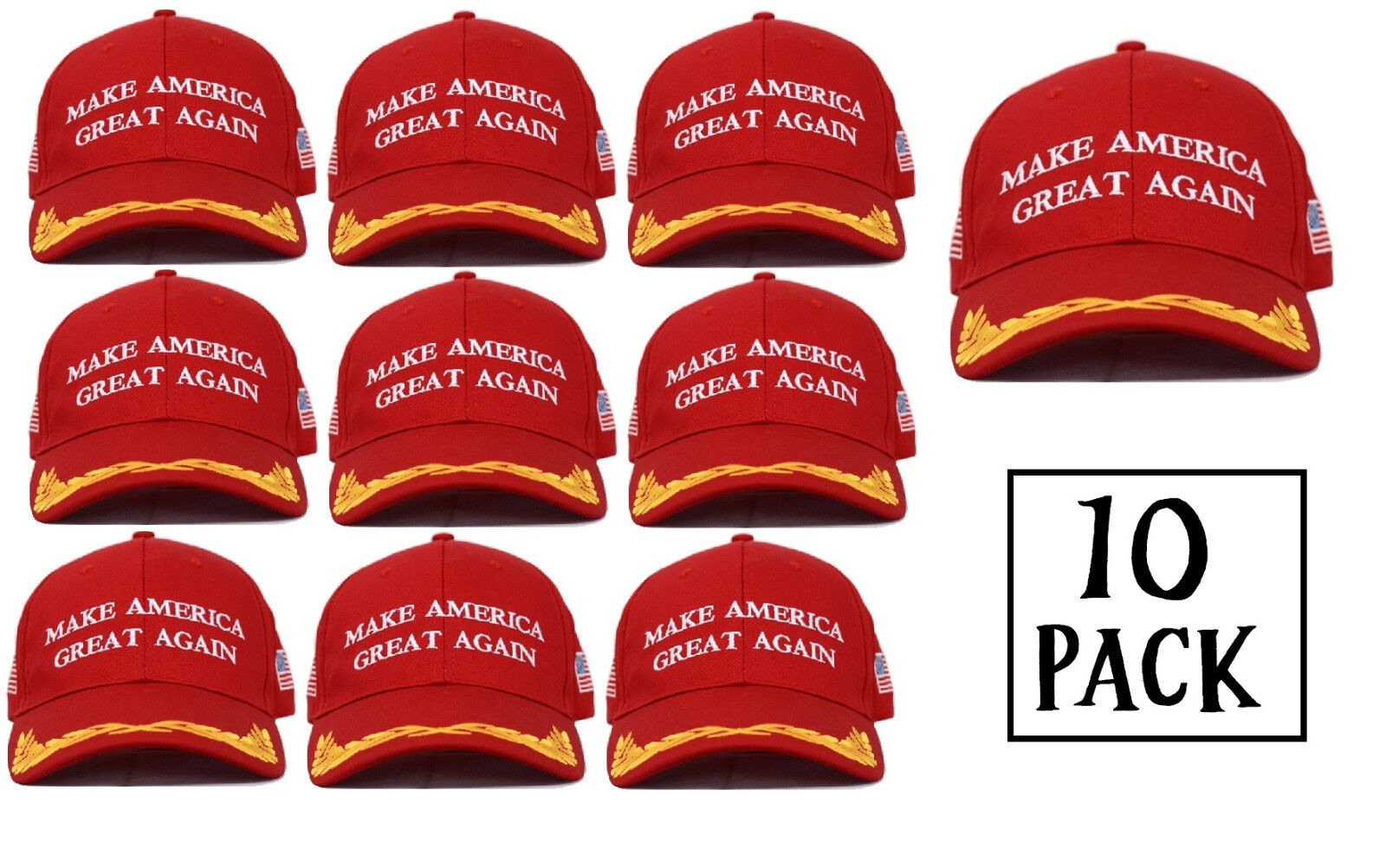 MAGA Red Embroidered Military Presidential Make America Great Again Hat 10-Pack Clothing, Shoes & Accessories