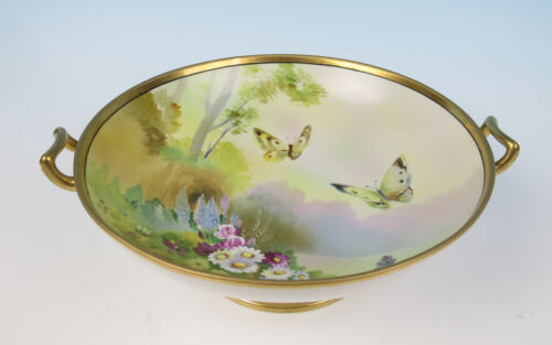 Beautifully Hand Painted Nippon Porcelain Bowl w/ Butterflies Japanese Butterfly