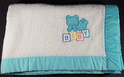Vintage Cuddle Time Aqua Blue Baby Blocks Teddy Bear Security Blanket Lovey USA