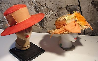 VINTAGE 2  WOMENS HAT LOT  GREAT SUMMER HATS FOR BEACH.SUMMER PARTIES