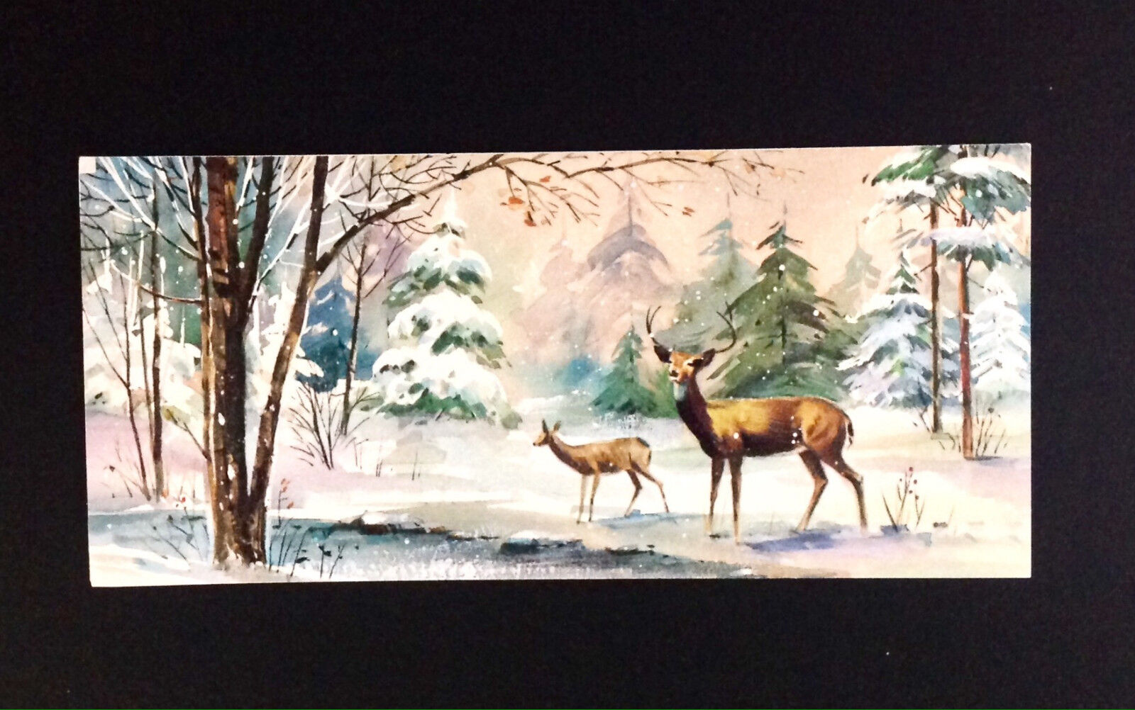 Vintage greeting cards paper collectibles pink sky deer forest glen blue snow trees vintage mid century xmas card american kristyandbryce Choice Image