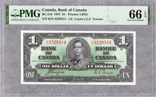 1937 Bank of Canada $1 Banknote, PMG UNC-66 EPQ