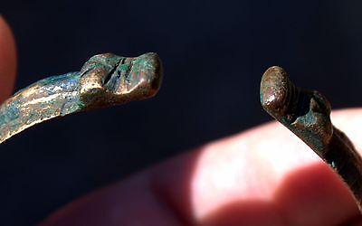 Circa 900-1000 AD Ancient Viking Artifact Bronze 2 DRAGON HEADS Bracelet