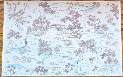"Dollhouse Wallpaper Brodnax ""Padoga Mural"" 1:12 Scale Miniature Asian Theme"