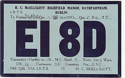 QSL Card DUBLIN IRELAND 1932 Funk Karte Radio EI8D     ( 80432