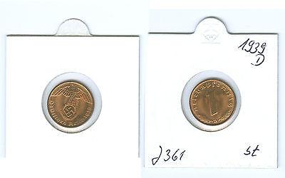 Drittes Reich 1 Reichspfennig 1939 D stempelglanz