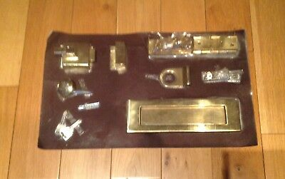 Set of Quality Brass Door Furniture Letter plate, Hinges and LockNew Old Stock