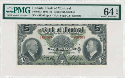 CANADA BANK OF MONTREAL 5 DOLLARS 1935 5056002 488309 - PMG 64 CHOICE UNC EPQ
