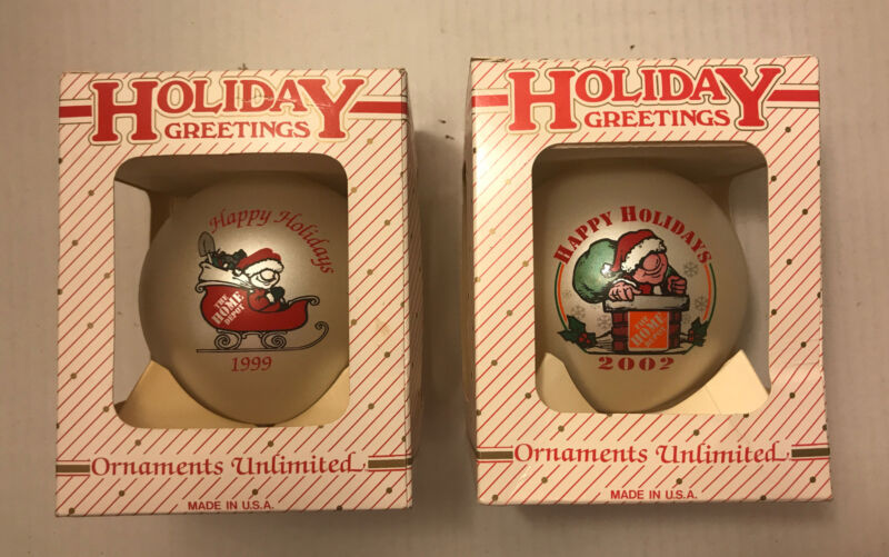 2 HOME DEPOT 1999, 2002 HAPPY HOLIDAYS Greetings Santa Christmas Ball Ornaments