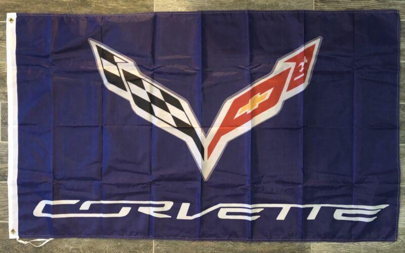 Corvette C7 Logo 3X5 Garage Wall Banner Flag Chevrolet Stingray FREE SHIPPING