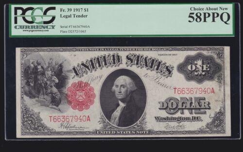 US 1917 $1 Legal Tender FR 39 PCGS 58 PPQ Ch AU (-941)