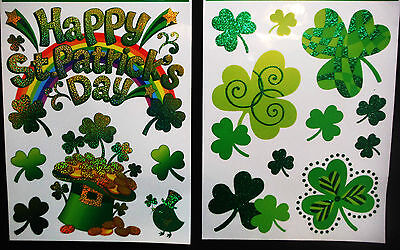 ST PATRICKS DAY WINDOW CLINGS.GREAT HOME DECOR IRISH PUBS ETC..