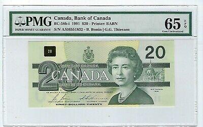 $20 Dollars 1991 Canada BC-58d-i  PMG 65 EPQ