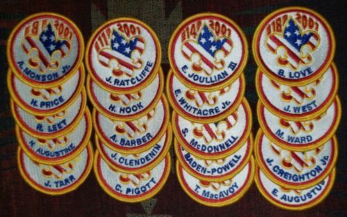 2001 National Jamboree Subcamp patches full set of 20. Mint.